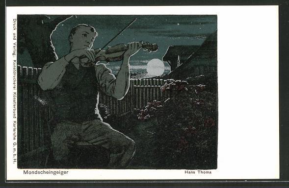 Künstler-AK Hans Thoma: Mondscheingeiger beim Spiel im Garten