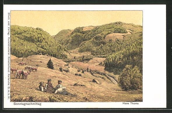 Künstler-AK Hans Thoma: Sonntagnachmittag auf einer Bergwiese
