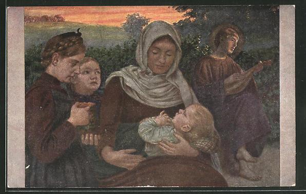 Künstler-AK Hans Thoma: Frau mit Kindern und Lautespieler