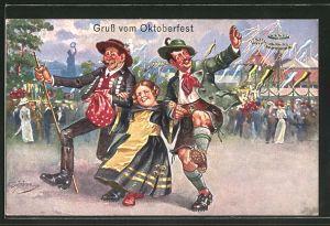Künstler-AK Ernst Schlemo: Gruss vom Oktoberfest, Münchner Kindl tanzt mit Bayern in Tracht