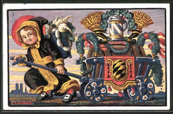 Künstler-AK Max Luber: Münchner Kindl mit Bierwagen