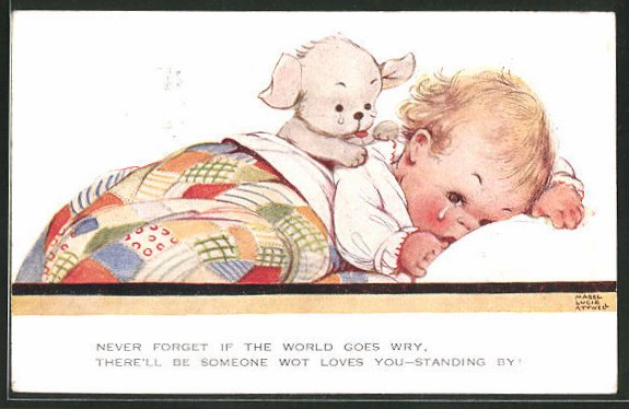 Künstler-AK Mabel Lucie Attwell: Hündchen tröstet ein weinendes Kind