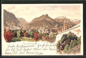 Künstler-AK Otto Strützel: Reichenhall, Ruine Karlstein, Teilansicht vom Ort