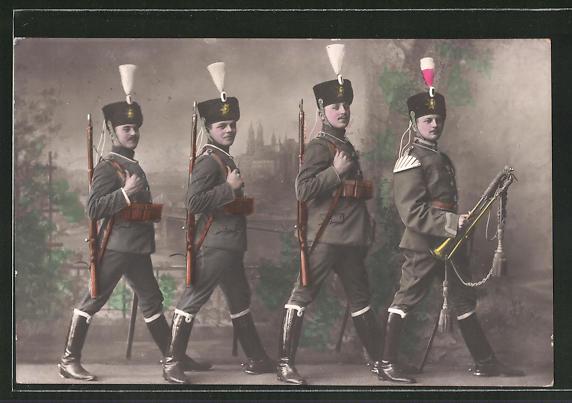 AK Kavalleristen und Musiker in Uniform