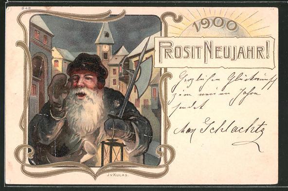 Lithographie Nachtwächter wünscht Prosit Neujahr 1900