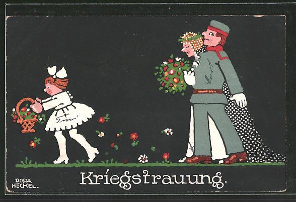 Künstler-AK Dora Heckel: Kriegstrauung, Soldat mit Braut