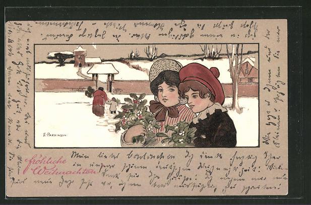 Künstler-AK Ethel Parkinson: Weihnachtsbesuch mit Mistelzweigen