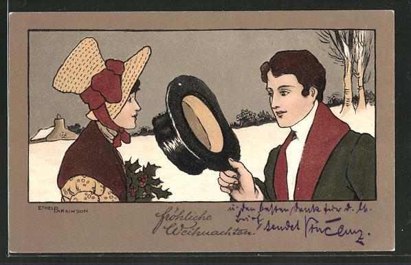 Künstler-AK Ethel Parkinson: Herr zieht grüssend den Zylinder vor einer Dame