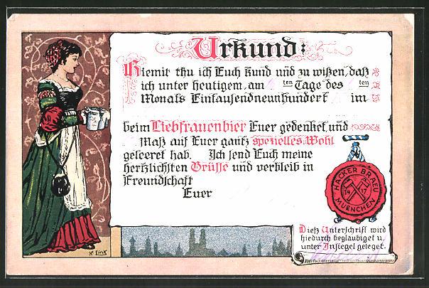 Künstler-AK Brauerei-Werbung für Münchner Hacker-Bräu, Urkunde mit Siegel
