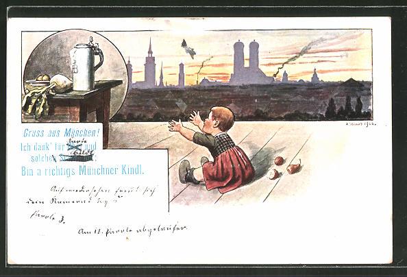 Künstler-AK Münchner Kindl verlangt nach Bier und Radi