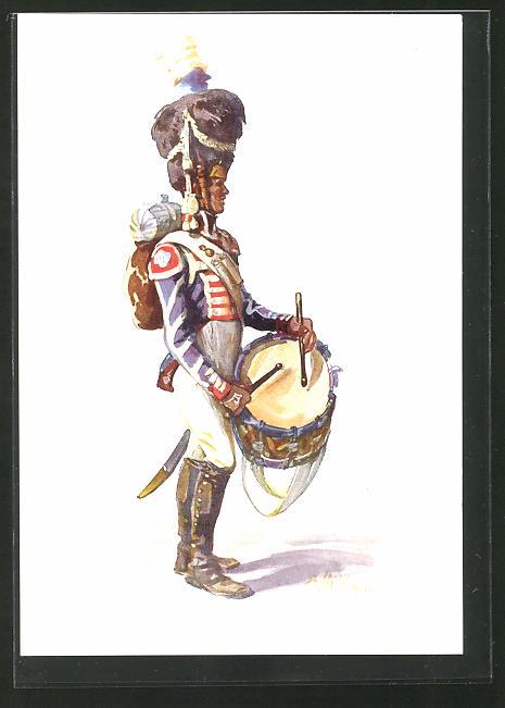 Künstler-AK Angelo Jank: Soldat in Uniform mit Fellmütze und Trommel