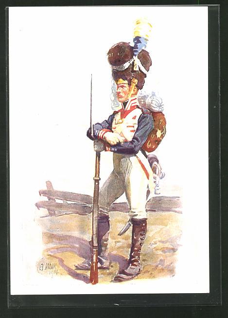 Künstler-AK Angelo Jank: Soldat in Uniform mit Fellmütze und Gewehr