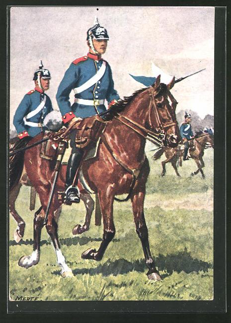Künstler-AK O. Merte: Schweres Reiter-Regiment Prinz Karl von Bayern