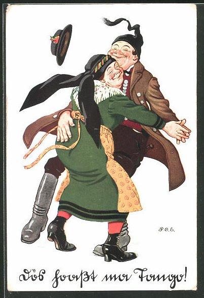 Künstler-AK P. O. Engelhard (P.O.E.): Bayerisches Paar beim Tanz