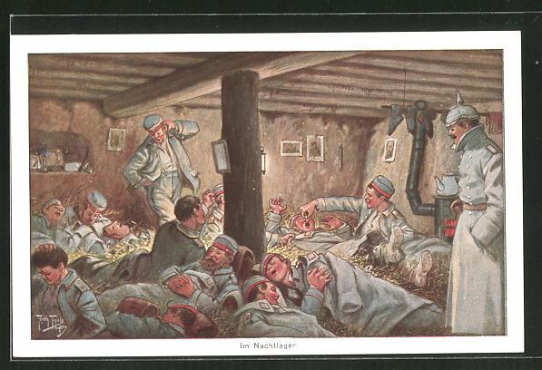 Künstler-AK Arthur Thiele: Deutsche Soldaten im Nachtlager