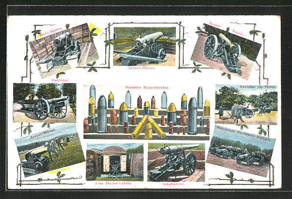 AK Deutsche Artillerie, Bronce-Mörser, Haubitze, Langkanone