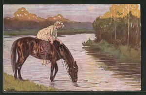 Künstler-AK Alfred Mailick: Reiterin tränkt ihr Pferd am See
