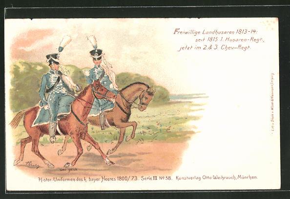 Lithographie Freiwillige Landhusaren 1813-14, seit 1815 1. Husaren-Regiment, später 2. & 3. Chev.-Regiment, Uniform