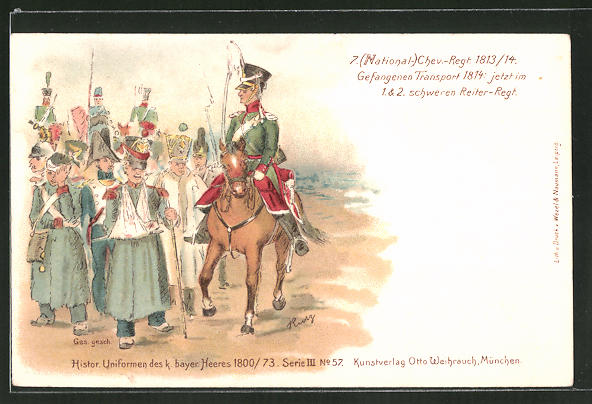 Lithographie Uniform 7. (National-) Chev.-Regiment 1813 /14, Gefangenen-Transport 1814