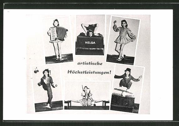AK Akrobatin Helga bei einigen ihrer Nummern