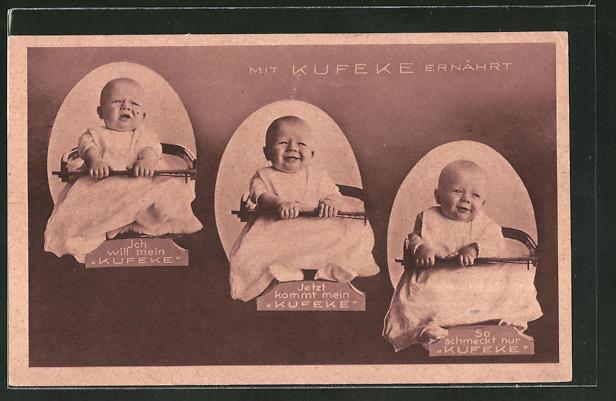 AK Mit Kufeke ernährt, Säugling