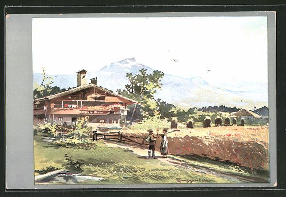 Künstler-Lithographie Theodor Guggenberger: Bauernpaar vor Wohnhaus