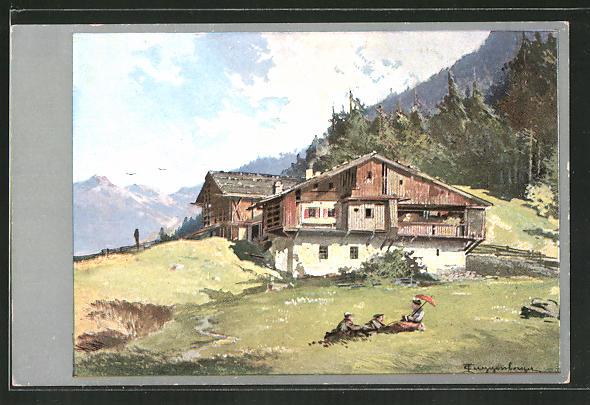 Künstler-AK Theodor Guggenberger: Haus in den Bergen