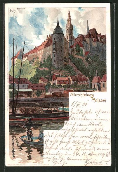 Künstler-Lithographie Heinrich Kley: Meissen, Albrechtsburg
