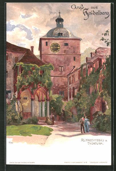 Künstler-Lithographie Heinrich Kley: Heidelberg, Ruprechtsbau und Thorturm