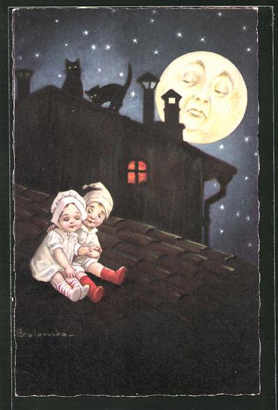 Künstler-AK E. Colombo: kleines Paar auf Dach und Mondgesicht