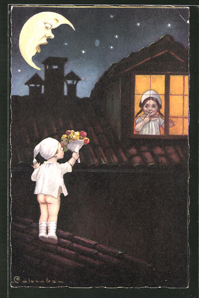 Künstler-AK E. Colombo: kleines Liebespaar und Mondgesicht