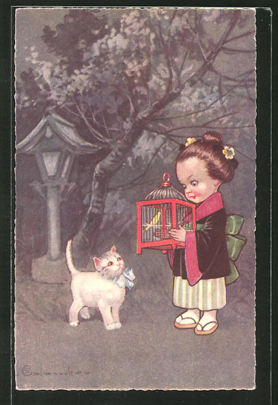 Künstler-AK E. Colombo: kleine Geisha mit Vogelkäfig und Katze