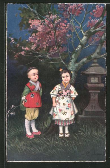 Künstler-AK E. Colombo: kleines asiatisches Paar