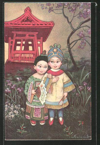 Künstler-AK E. Colombo: asiatisches Paar in Tracht