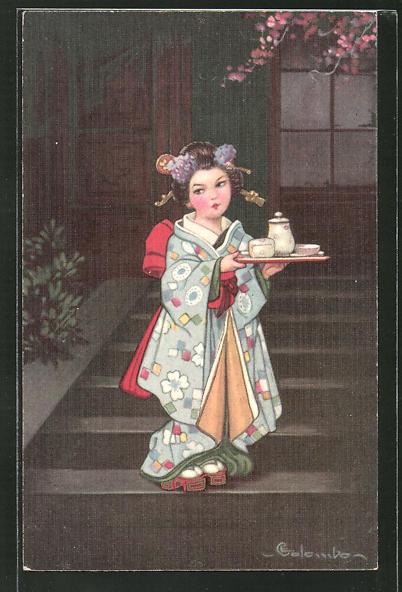 Künstler-AK E. Colombo: kleine Geisha