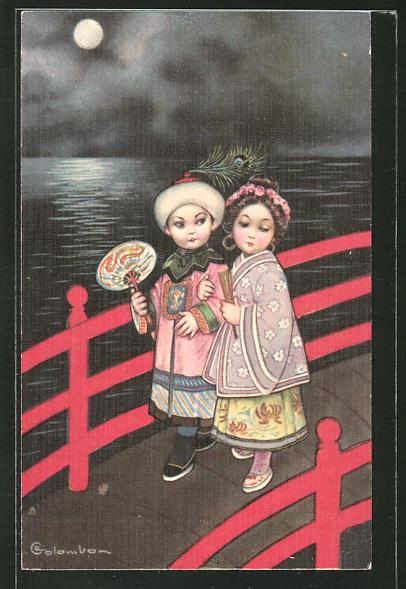 Künstler-AK E. Colombo: kleines asiatisches Paar auf Brücke