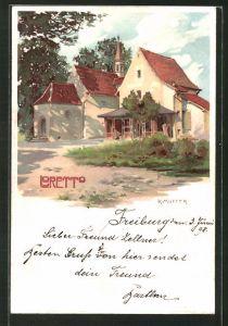 Künstler-Lithographie Karl Mutter: Loretto, Motiv der Kirche