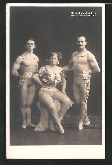 AK Drei Abs-Avellos, Moderner Gymnastik-Akt, Akrobaten