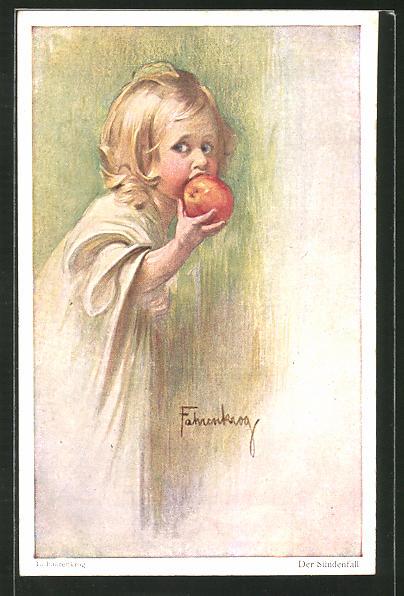 Künstler-AK Ludwig Fahrenkrog: Der Sündenfall, Kind beisst in Apfel