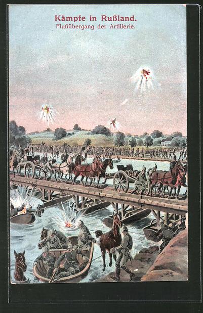AK Artillerie überquert einen Fluss,