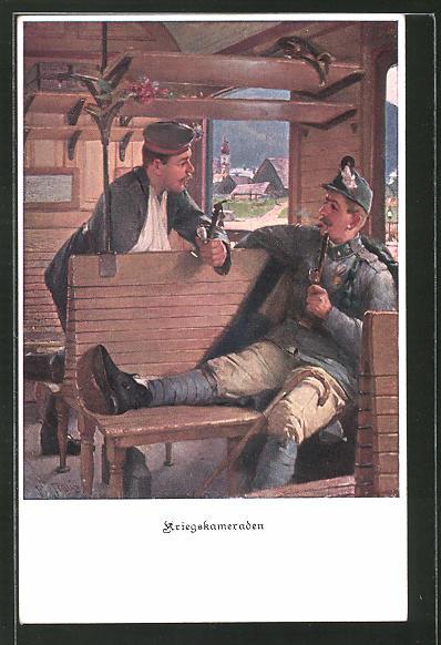 AK Zweibund, deutscher und österreichischer Soldat im Zugabteil,