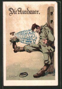 AK Soldat balanciert Vogelnest auf seinem Stiefel,