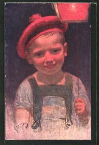 Künstler-AK Karl Feiertag: kleiner Junge mit roter Mütze und Laterne