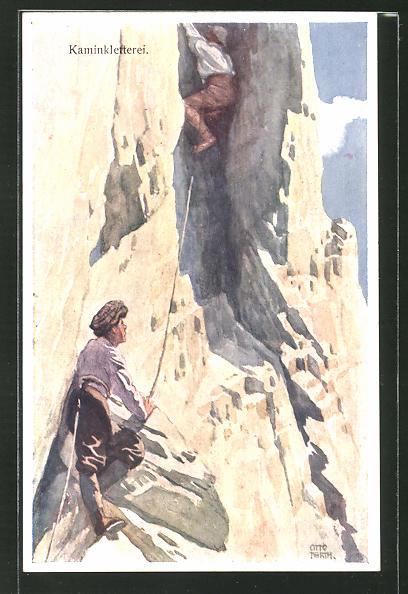 Künstler-AK Otto Barth: Bergsteiger an der Steilwand,