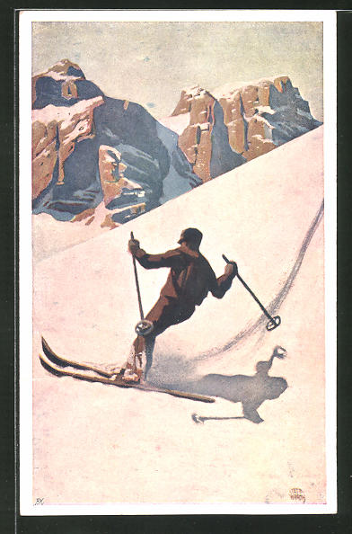 Künstler-AK Otto Barth: Skifahrer auf steiler Piste