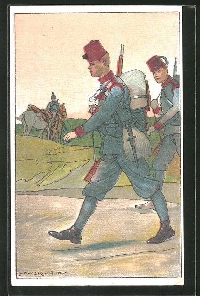 Künstler-AK Ludwig Koch: Soldaten auf ihrem Marsch