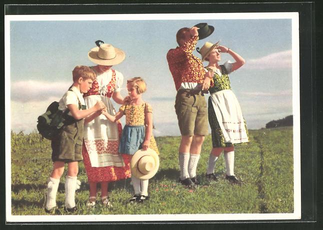 AK Reklame für indanthrenfarbige Kleidung, Familie in Trachten