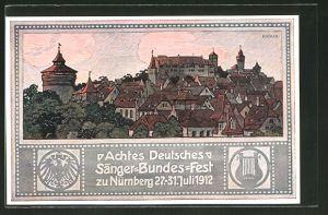 Künstler-AK Nürnberg, VII. Deutsches Sängerbundesfest 1912, Ganzsache Bayern, Totale