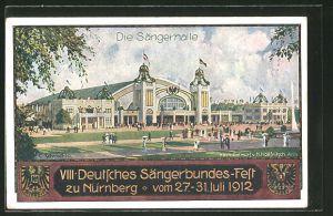 AK Nürnberg, VII. Deutsches Sängerbundesfest 1912, Ganzsache Bayern, die Sängerhalle