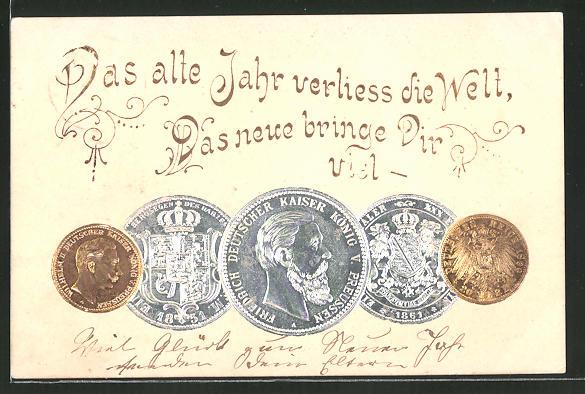 Präge Ak Das Alte Jahr Verliess Die Welt Deutsche Münzen Nr